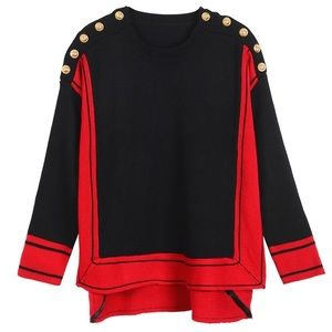 Black red color block sweater gold button